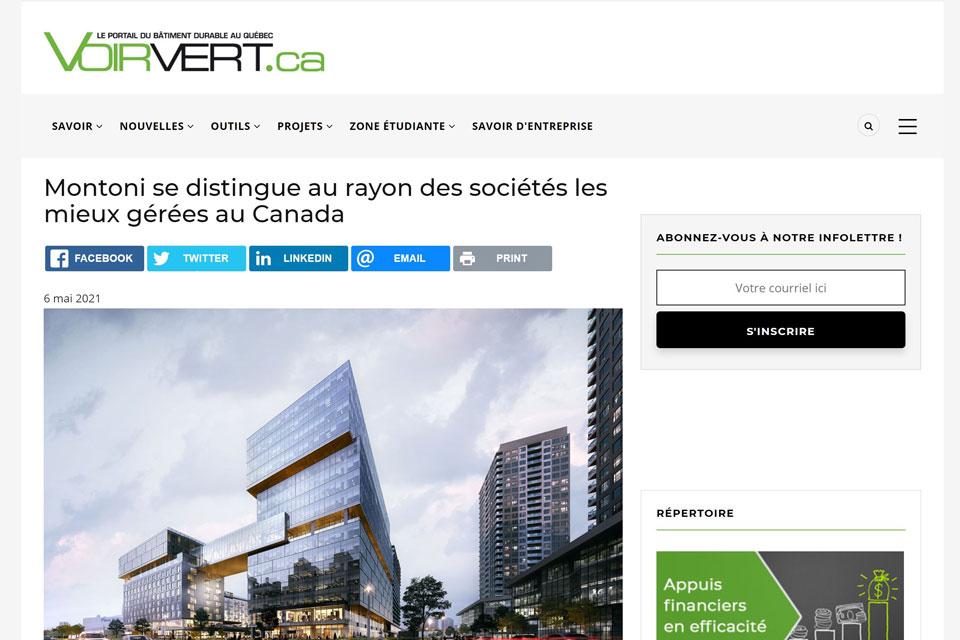 Montoni se distingue au rayon des sociétés les mieux gérées au Canada