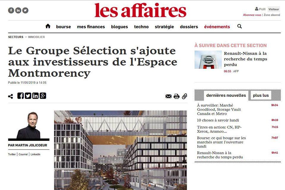 Le Groupe Sélection s'ajoute aux investisseurs de l'Espace Montmorency