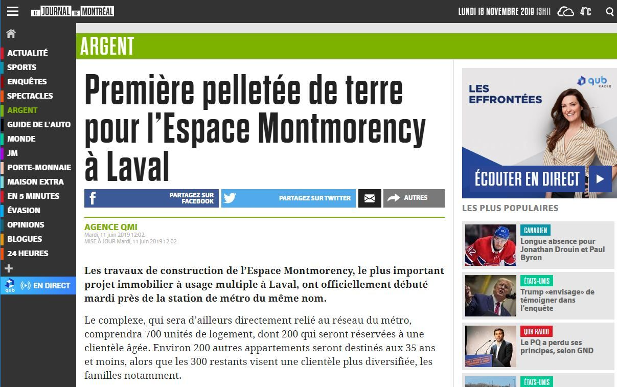 Première pelletée de terre pour l'Espace Montmorency à Laval