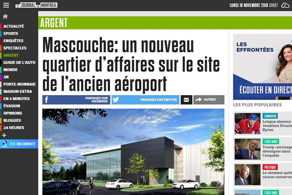 Mascouche: un nouveau quartier d'affaires sur le site de l'ancien aéroport