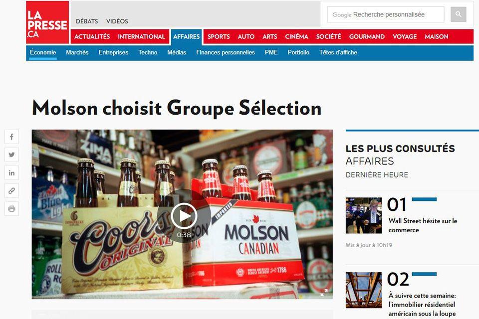 Molson choisit Groupe Sélection