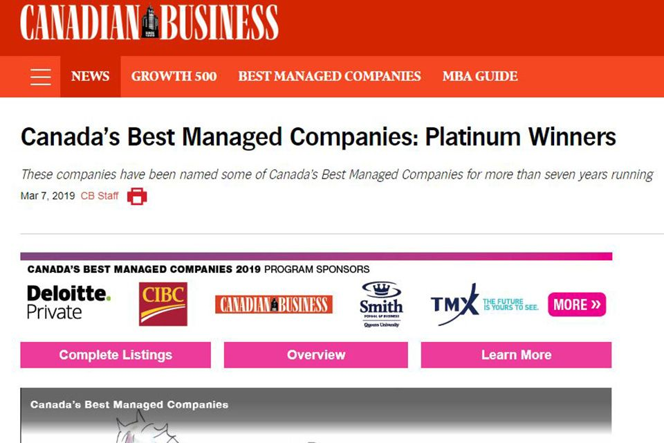 Canada's Best Managed Companies: Platinum Winners